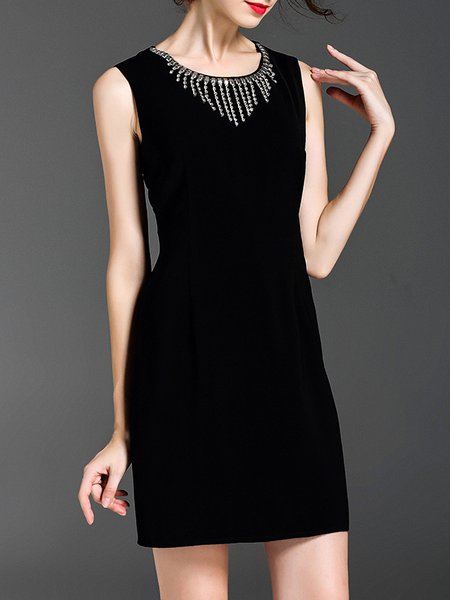 Black Sleeveless Beaded Mini Dress