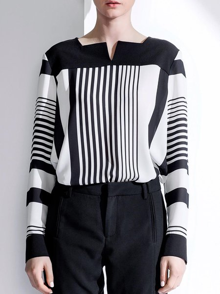 White Simple Square Neck Stripes Blouse