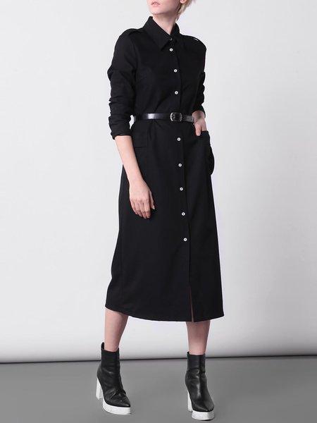 3/4 Sleeve Simple H-line Pockets Shirt Dress