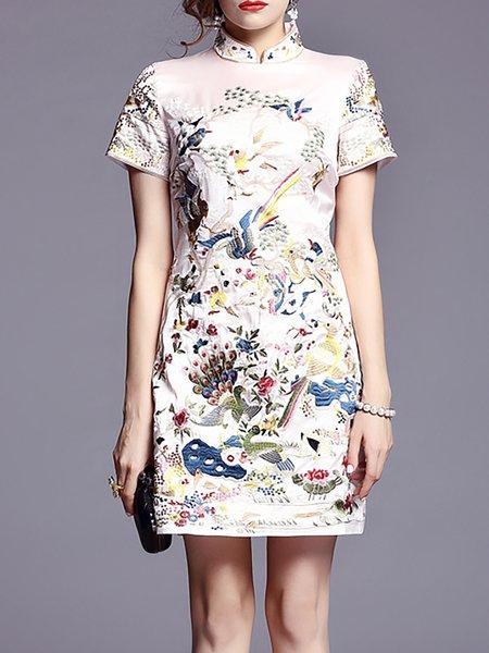 Beige Vintage Embroidered Mini Dress