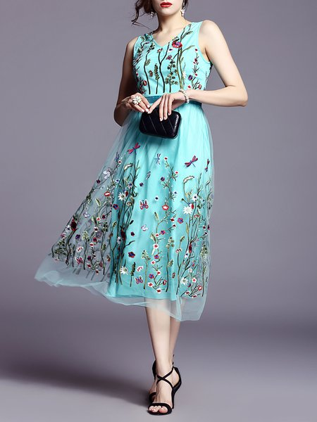 A-line Casual Polyester Sleeveless Floral Midi Dress