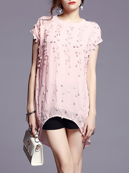 Pink Short Sleeve High Low Floral-Embroidered  Tunic