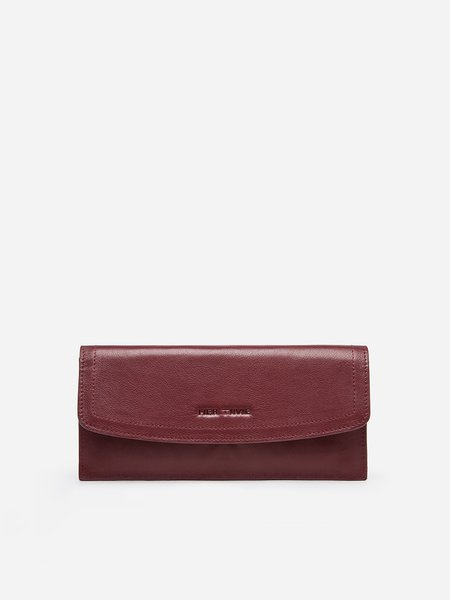 Wine Red Casual Fold-over Flat Top Wallet