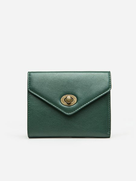 Green Cowhide Leather Twist Lock Wallet