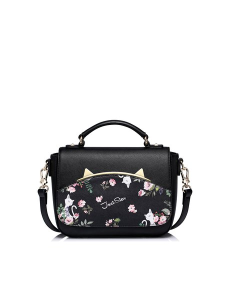 Black Casual Snap PU Satchel