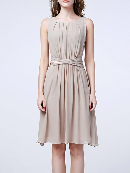 Crew Neck Sleeveless Casual Ruched Plain Midi Dress