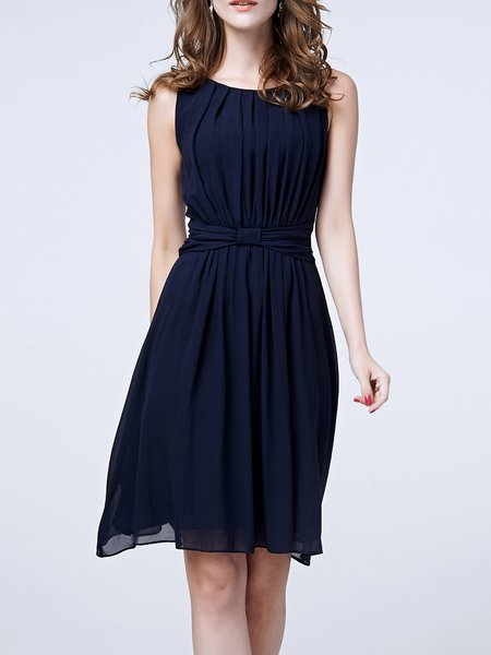 Dark Blue Ruched Plain A-line Sleeveless Midi Dress