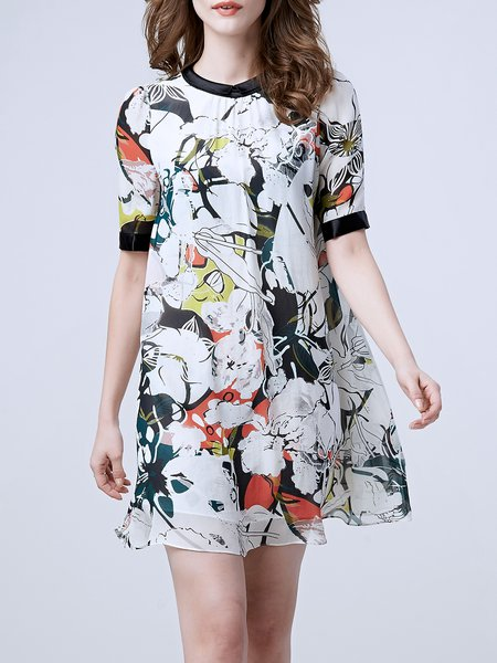 Multicolor Short Sleeve Floral Printed Mini Dress