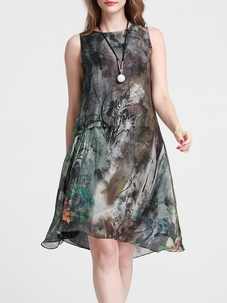 Sleeveless Printed Floral A-line Casual Midi Dress
