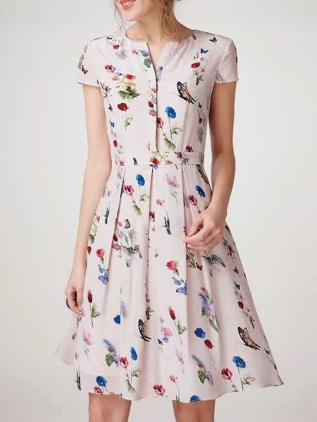 Multicolor Folds Short Sleeve Silk V Neck Midi Dress