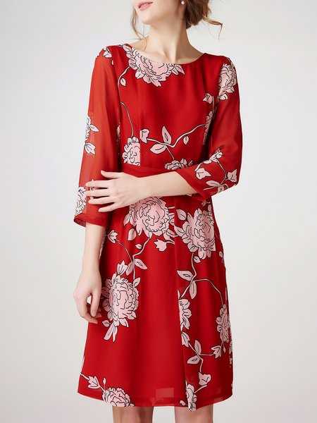 Printed Sheath 3/4 Sleeve Bateau/boat Neck Elegant Midi Dress