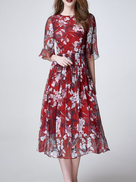 Red Elegant Crew Neck Floral Midi Dress