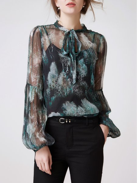 Multicolor Long Sleeve Silk Mesh Stand Collar Blouse With Camis