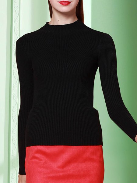 Black Ribbed Stand Collar Plain Simple Long Sleeved Top
