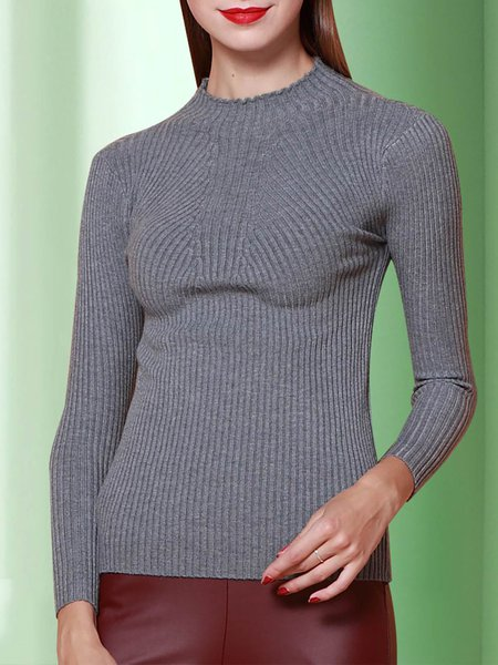 Gray Simple Knitted Stand Collar Ribbed Long Sleeved Top