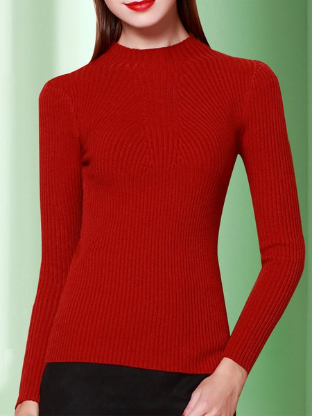 Long Sleeve Stand Collar Knitted Ribbed Sweater