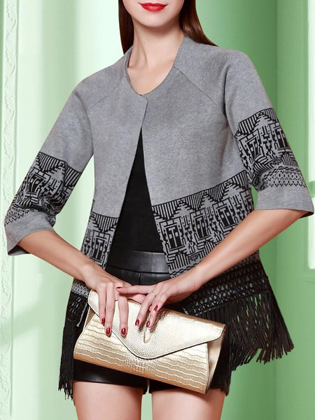 Gray Tribal Fringed Knitted Statement Cropped Jacket