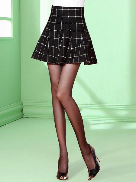 High Waist Folds Elegant A-line Checkered/Plaid Mini Skirt