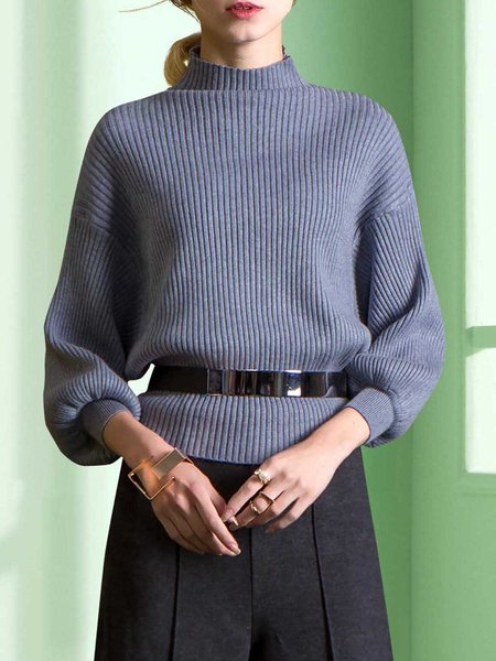 Gray Elegant Balloon Sleeve Turtleneck Sweater