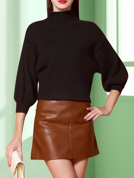 Black Knitted Balloon Sleeve Turtleneck Plain Blouse