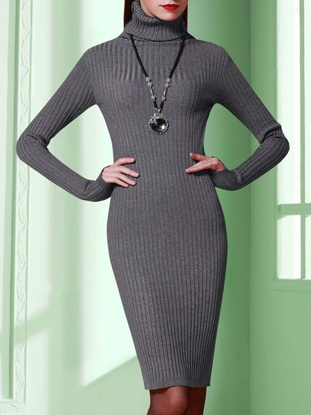 Gray Knitted Turtleneck Long Sleeve Plain Midi Dress