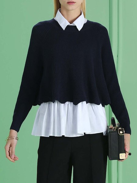 Dark Blue Long Sleeve Shirt Collar Two Piece Plain Blouse