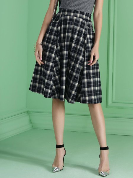 Gray Scottish Checkered/Plaid Pockets A-line Elegant Midi Skirt