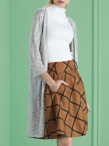 Light Gray Casual Pockets Knitted Plain Coat
