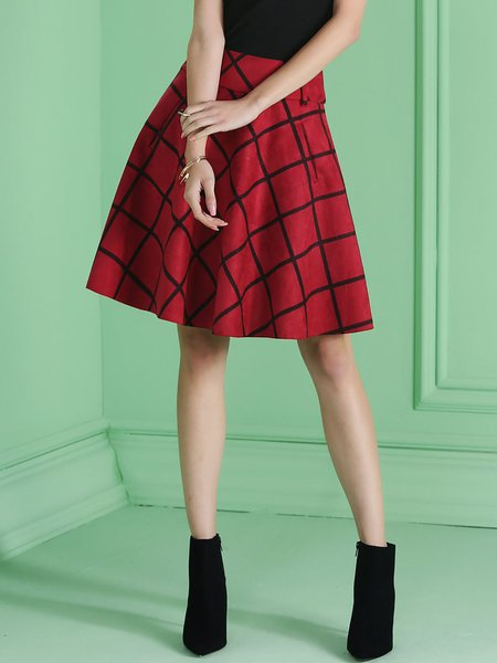 Red Checkered/Plaid Elegant Pockets Lady Midi Skirt