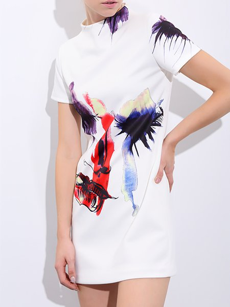 Short Sleeve Abstract Printed Casual Mini Dress