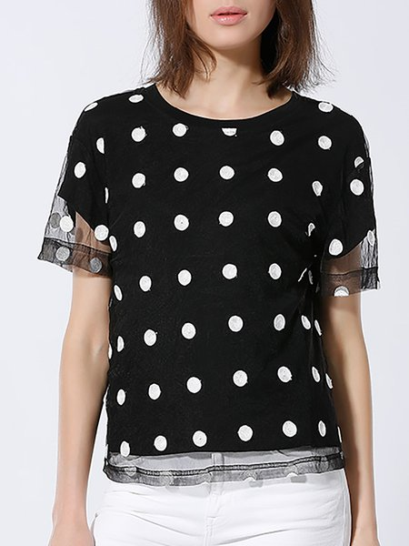 Black Printed Casual Crew Neck H-line Short Sleeved Top