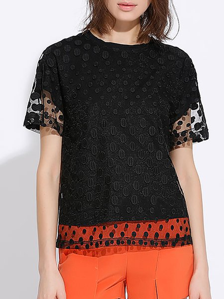 Black Crew Neck Casual H-line Short Sleeved Top