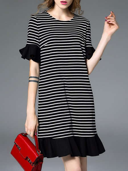 Shift Stripes Ruffled Casual Frill Sleeve Midi Dress