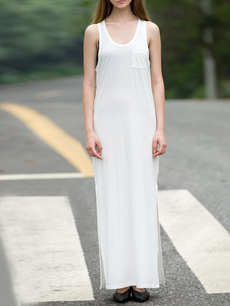 White Casual Cotton Shift Slit Crew Neck Summer Maxi Dress