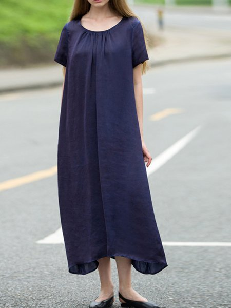Dark Blue Shift Simple Crew Neck Plain Summer Midi Dress