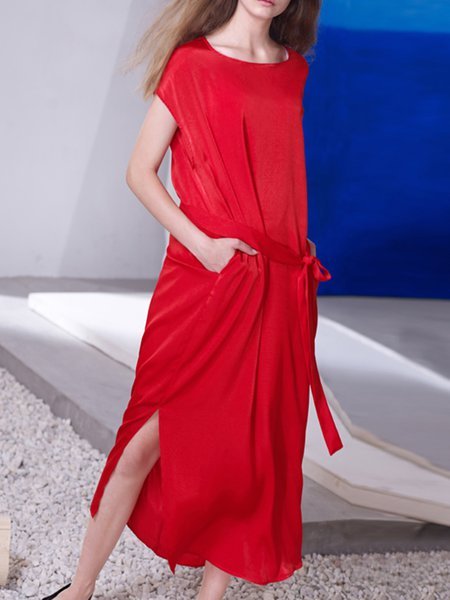 Red Chiffon Shift Casual Plain Midi Dress with Belt