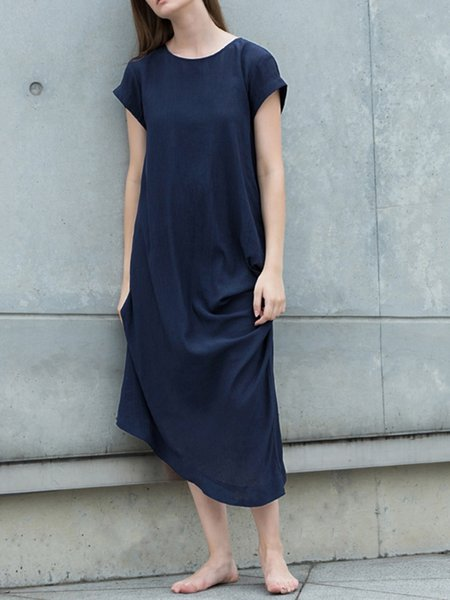 Casual Short Sleeve Plain Crew Neck Midi Dress