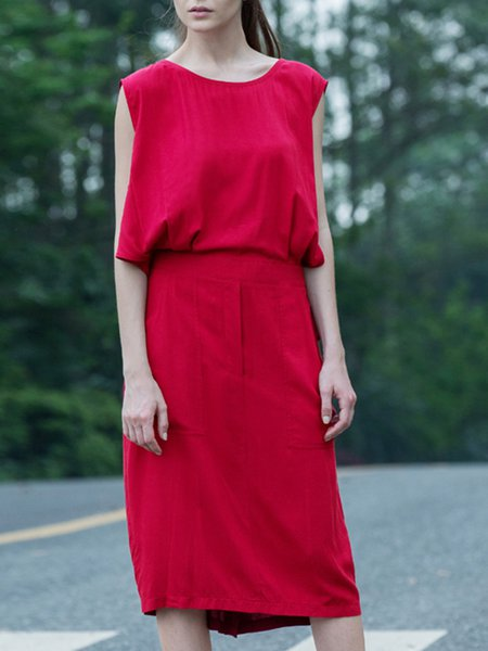 Burgundy H-line Plain Simple Midi Dress