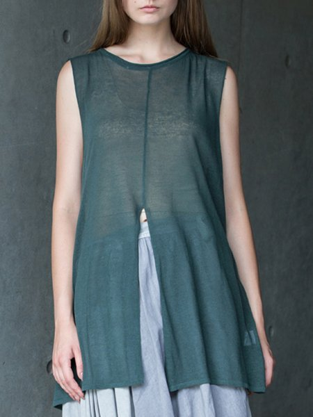 Dark Green Sleeveless Slit Crew Neck Casual Tunic
