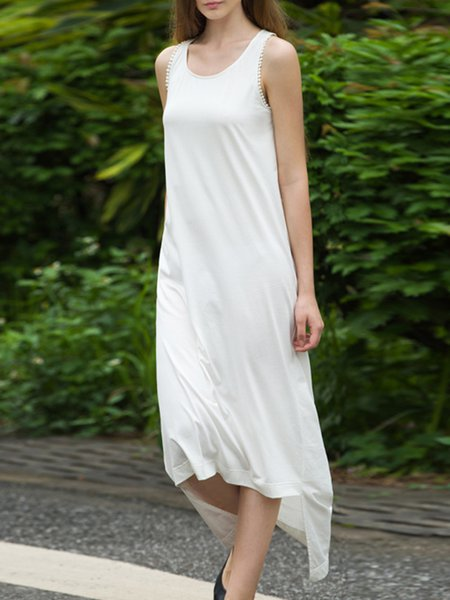 White Crew Neck High Low Casual Midi Dress