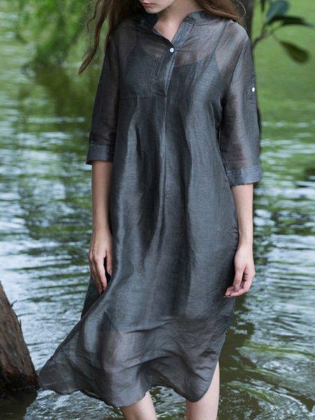 Dark Green Stand Collar Half Sleeve Linen Silk Midi Dress
