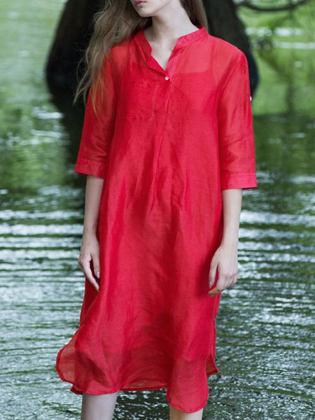 Red Linen Silk Stand Collar Half Sleeve H-line Midi Dress