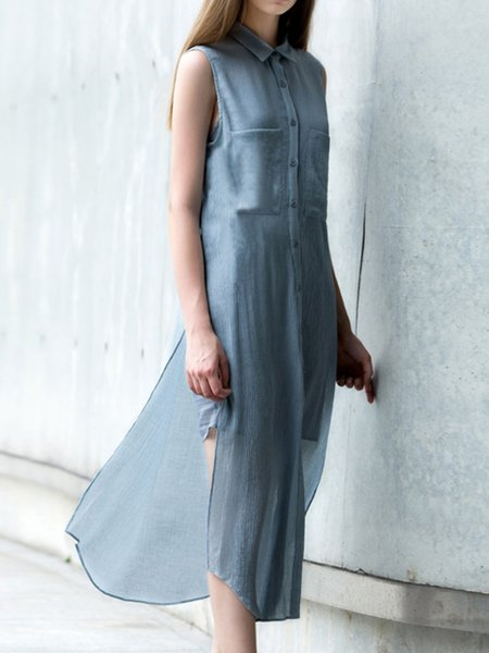 Casual Shift Silk Sleeveless Slit Shirt Dress