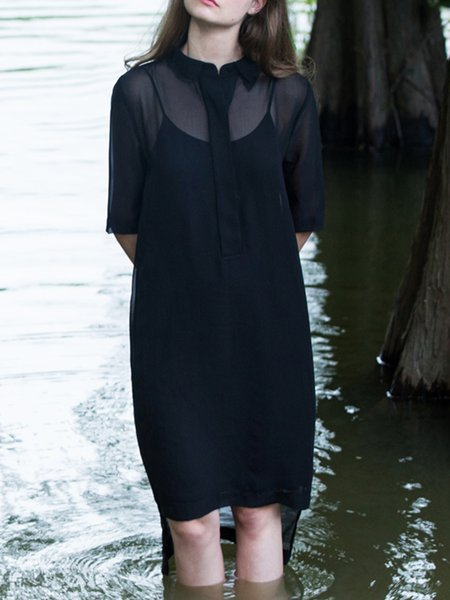 Black High Low Half Sleeve Chiffon Summer Midi Dress