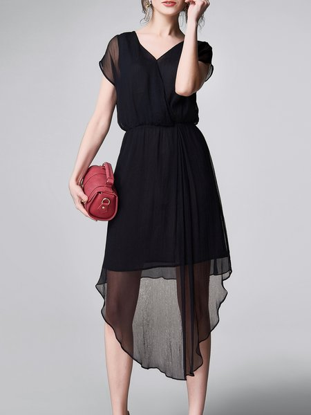 Asymmetrical Statement Short Sleeve Midi Dress