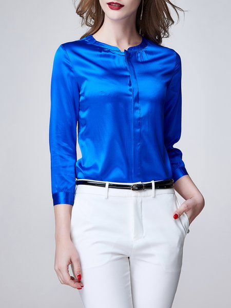 Long Sleeve Crew Neck Plain Simple Silk-blend Blouse