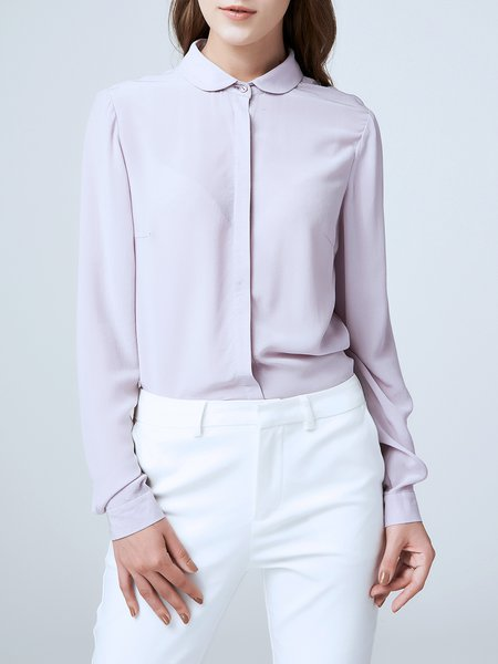 Purple Peter Pan Collar Long Sleeve Plain Silk Blouse
