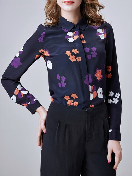 Purple Long Sleeve Floral Silk Shirt Collar Blouse