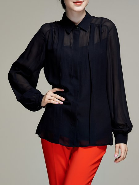 Black Work Mesh Plain Shirt Collar One Piece Blouse