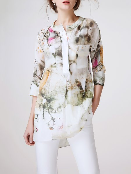 Multicolor Pockets Graphic Silk-blend Casual Tunic